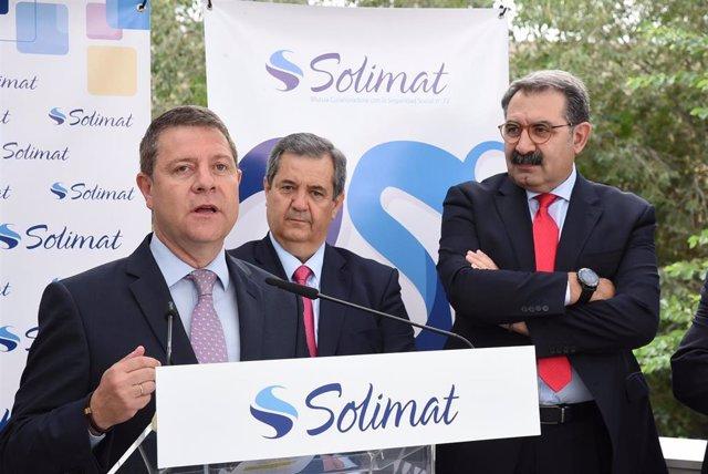 El presidente de Castilla-La Mancha, Emiliano García-Page, en el  XXV aniversario del hospital laboral de Solimat en Toledo.