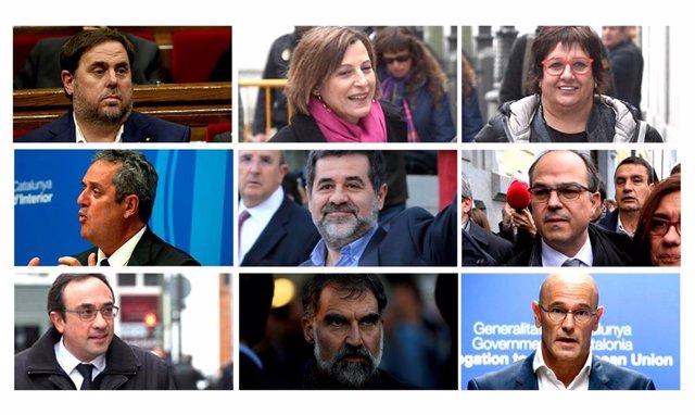 Muntatge fotogràfic dels polítics presos independentistes: Oriol Junqueras, Carme Forcadell, Dolors Bassa, Joaquim Forn, Jordi Sánchez, Jordi Turull, Josep Rull, Jordi Cuixart i Raül Romeva (d'esquerra a dreta i de dalt a baix)