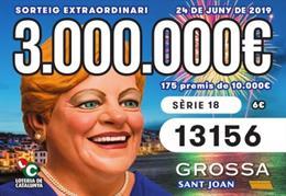 Cupó premiat en el sorteig de la Grossa de Sant Joan 2019, de Loteria de Catalunya