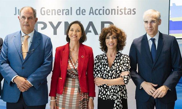 La ministra de Industria en funciones, Reyes Maroto, clausura la junta general de accionistas de Pymar.