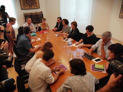 PSN, Geroa Bai, Podemos e I-E, reunidos para comenzar la negociación de un programa de gobierno en Navarra
