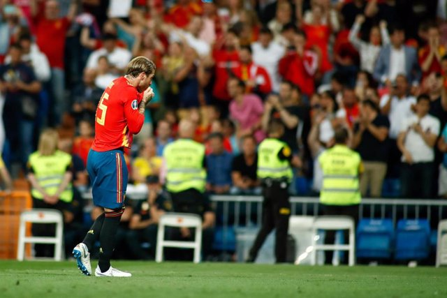 Sergio Ramos Garcia of Spain celebrates a goal during the 2020 UEFA European Championships group F, European Qualifiers, played between Spain and Sweden at Santiago Bernabeu Stadium in Madrid, Spain, on June 10, 2019.