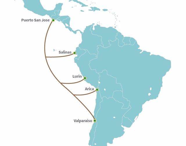 Esquema del despliegue de un cable submarino por parte de América Móvil y Telxius (Telefónica) en la costa latinoamericana del Pacífico.