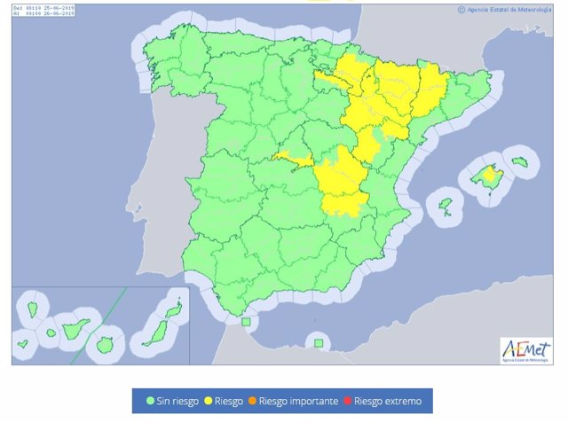Mapa con diez provincias en alerta por la ola calor