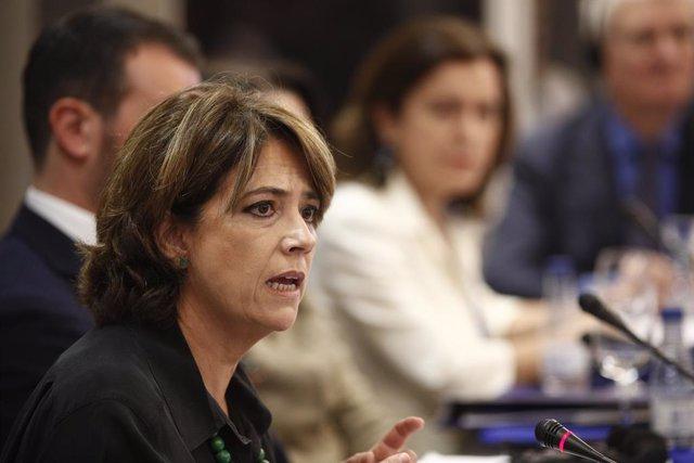 La ministra de Justícia en funcions, Dolores Delgado, intervé en l'obertura d'Euromed Justice al Gran Hotel Colón de Madrid