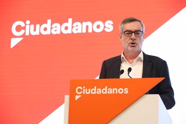 El secretario general de Ciudadanos, José Manuel Villegas, ofrece una rueda de prensa tras la reunión del Comité permanente de Ciudadanos.