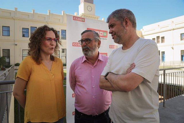 La secretaria general de CCOO-A, Nuria López, y homólogo nacional, Unai Sordo, en Sevilla