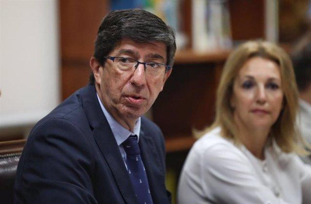 El vicepresidente de la Junta y líder andaluz de Ciudadanos (Cs), Juan Marín, este martes en Sevilla