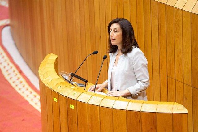 La conselleira de Medio Ambiente, Ángeles Vázquez, comparece en el Parlamento de Galicia para defender la nueva ley de patrimonio natural.