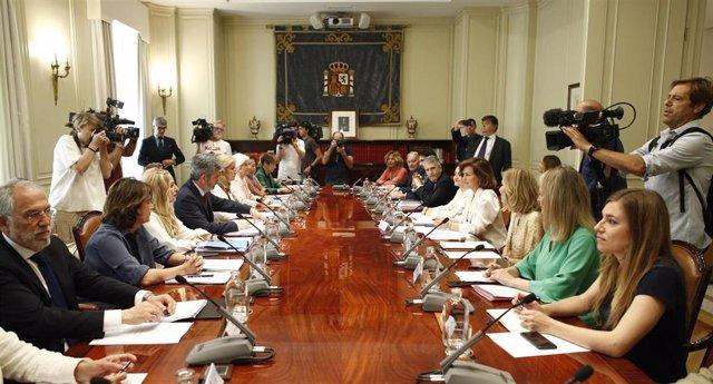 El ministro del Interior en funciones, Fernando Grande-Marlaska (6d) y la vicepresidenta del Gobierno en funciones, Carmen Calvo (4d), durante la reunión de instituciones del Observatorio contra la Violencia Doméstica y de Género en la sede del Consejo Ge