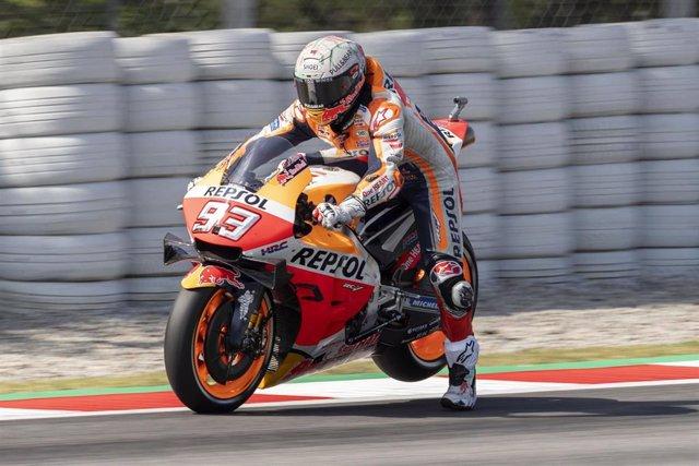El piloto de MotoGP Marc Márquez (Repsol Honda) en el Circuit de Barcelona-Catalunya