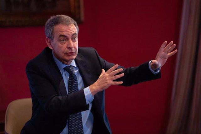 El expresidente del Gobierno, José Luis Rodríguez Zapatero, durante su intervención en la presentanción del libro de J.A.March, 'Poder y futuro'.