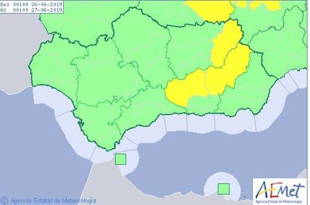 Avisos por altas temperaturas en Granada y Jaén activos este miércoles 26 de junio