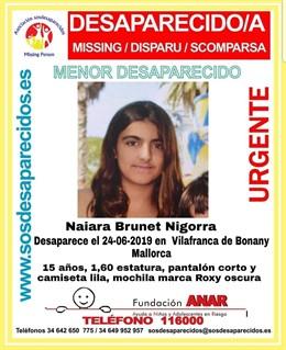Imagen de Naiara Brunet Nigorra, menor de 15 años desaparecida este lunes en Vilafranca de Bonany (Mallorca).