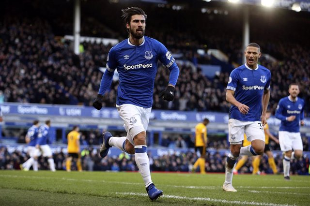 Everton midfielder Andre Gomes (8) celebrates his equalising goal 1-1 during the English championship Premier League football match between Everton and Wolverhampton Wanderers on February 2, 2019 at Goodison Park in Liverpool, England - Photo Craig Gallow