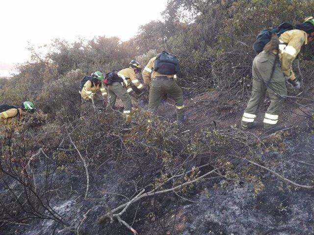 Bomberos trabajan en un incendio en Villaviciosa de Córdoba