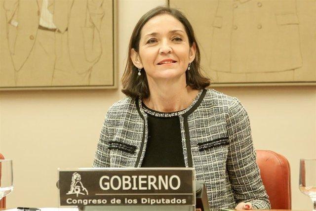 La ministra de Industria, Comercio y Turismo, Reyes Maroto, durante su intervención en una Comisión  en el Congreso de los Diputados .