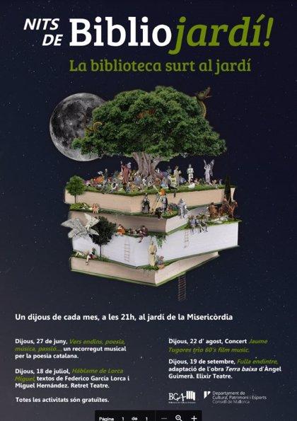El 'Bibliojardí' de la Biblioteca de Cultura Artesana del Consell torna a la Misericòrdia amb activitats culturals