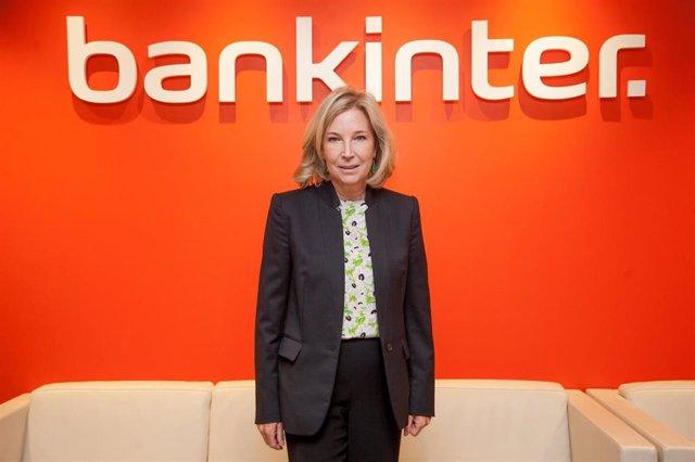 La consejera delegada de Bankinter, María Dolores Dancausa, durante la presentación de resultados del primer trimestre de 2019.