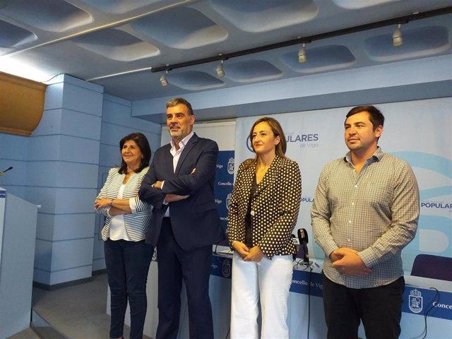 Los concejales del grupo municipal del PP en Vigo, Patricia López Román, Alfonso Marnotes, Teresa Egerique y Jesús Marco.