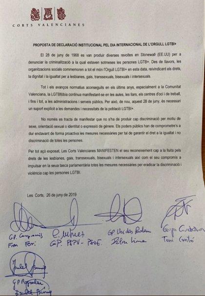 Frustrada una declaración institucional en Les Corts por los derechos LGTBI al no dar Vox su apoyo