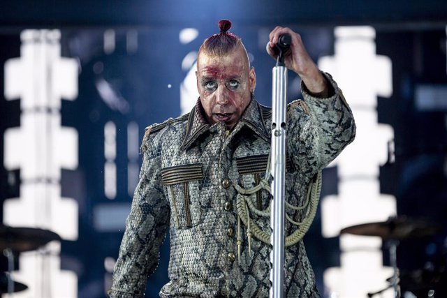 22 June 2019, Berlin: Till Lindemann, front singer of German band Rammstein, performs on stage during a concert at the Olympic Stadium in Berlin, as part of the band's  Europe Stadion Tour 2019. Photo: Christoph Soeder/dpa - ATTENTION: Only for editorial