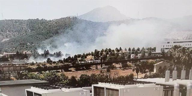 Imatge de l'incendi declarat al Camí Real del Secar de la Real.