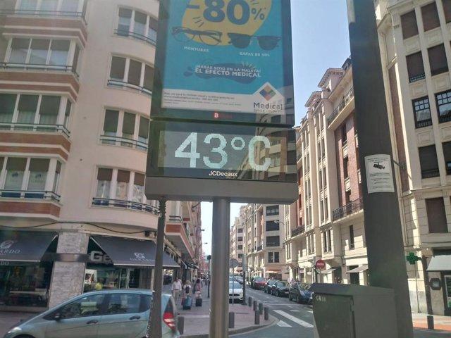 Termómetro en Bilbao marca 43 grados