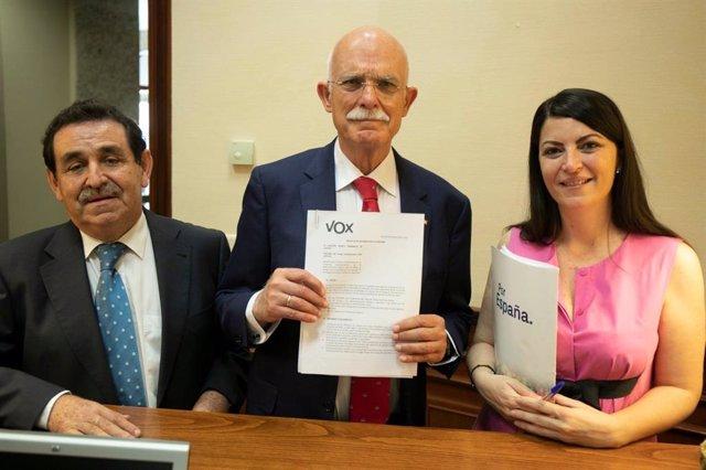 Los diputados de Vox, Manuel Mestre, Agustín Rosety y Macarena Olona, registrando la iniciativa en el Congreso.
