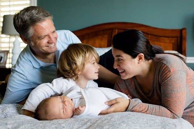 Familia, bebé, niño, padre, madre