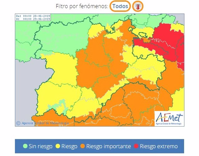 Información del nivel de riesgo por altas temperaturas que la Aemet muestra en su web.