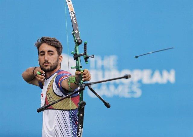 El arquero español Pablo Acha, en los Juegos Europeos de Minsk 2019.