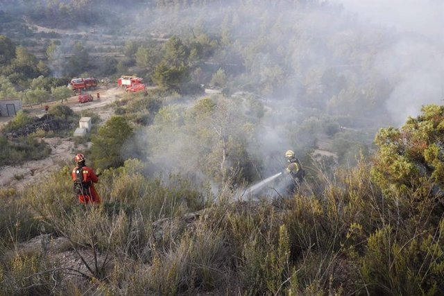 Efectius de la UME i bombers de la Generalitat en l'extinció de l'incendi