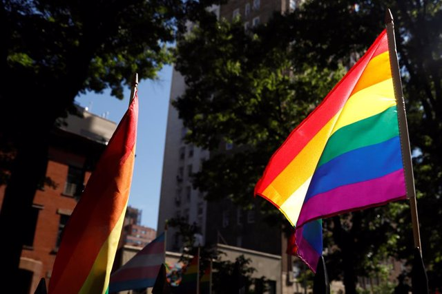 A rainbow flag, commonly known as the gay pride flag or LGBT pride flag, blows in the wind inside Christopher Park outside the Stonewall Inn in New York