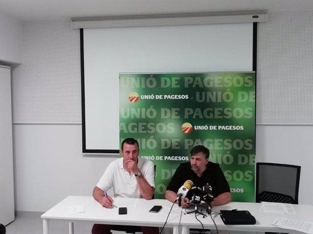 Santiago Caudevilla, responsable de cultius herbacis d'UP i Joan Caball, coordinador nacional del sindicat