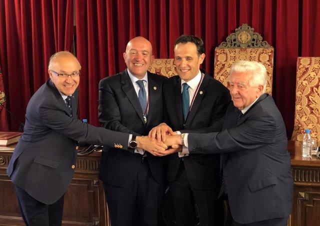 Ruiz Medrano (I), Carnero, Íscar y García Calvo, los últimos 4 presidentes de Diputación de Valladolid.