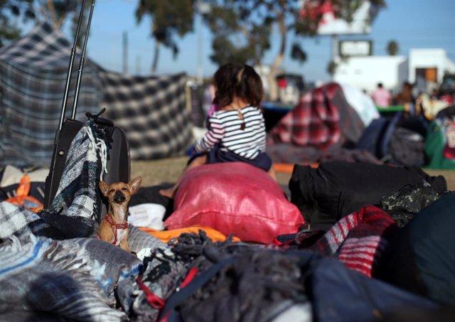 Niña migrante de las caravanas centroamericanas