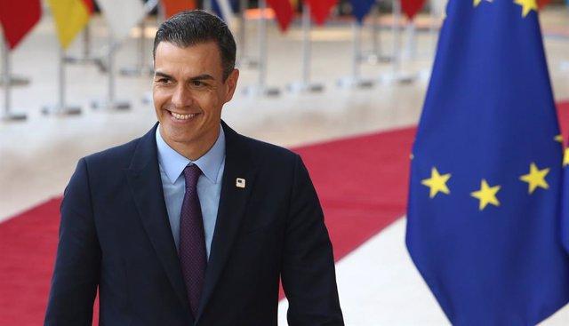 El president del Govern en funcions, Pedro Sánchez, en arribar a la reunió del Consell Europeu a Brusel·les.