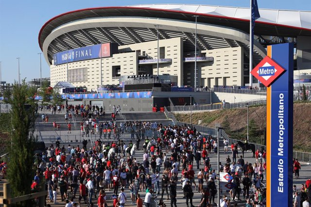 Entrada de los seguidores del Tottenham y el Liverpool en la final de la Liga de Campeones de la UEFA celebrado en el Estadio Wanda Metropolitano de Madrid.