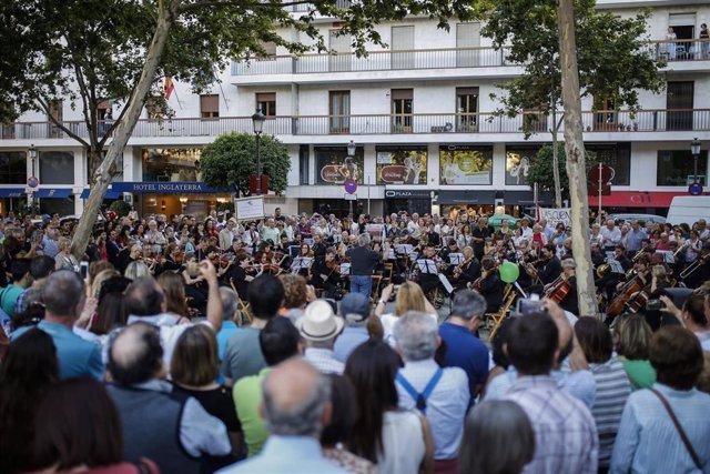 Concierto-protesta de la Real Orquesta Sinfónica de Sevilla. En la Plaza Nueva.