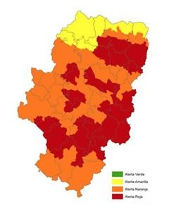 Mapa alerta incendios forestales de este domingo en Aragón.