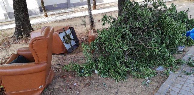 Una foto tomada en la avenida de la Soleá esta semana sobre la suciedad en las calles