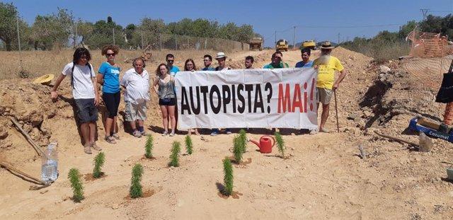 Imatge d'una acció de protesta de la plataforma Mallorca Lliure contra l'autopista Llucmajor-Campos.