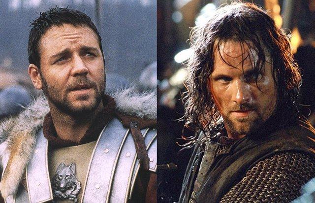 Russell Crowe en Gladiator y Viggo Mortensen en El señor de los anillos