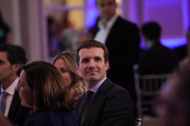 El presidente del Partido Popular, Pablo Casado, durante la segunda edición de los Premios Merca2 a la excelencia económica, social y empresarial.