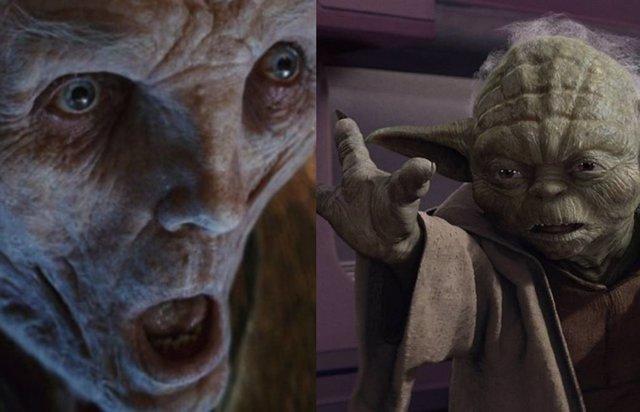 Snoke y Yoda en la saga de Star Wars