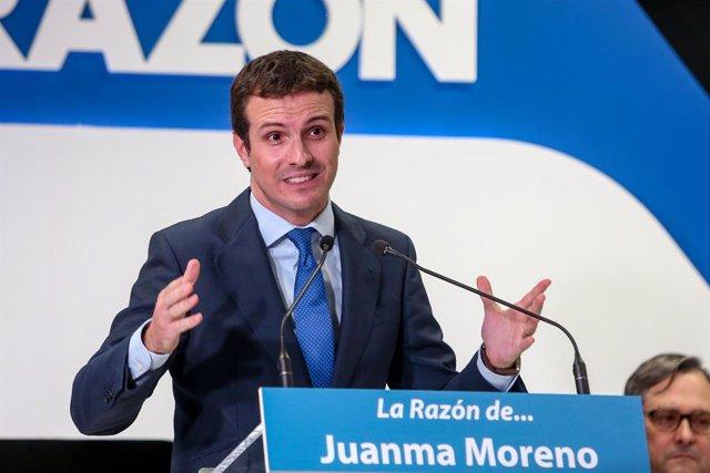 El president del Partit Popular, Pablo Casado, en l'acto 'La Razón de...'.