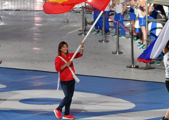 Sandra Sánchez, en la ceremonia de clausura de los Juegos Europeos de Minsk 2019.