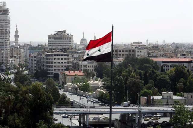 Bandera de Siria en Damasco, la capital.