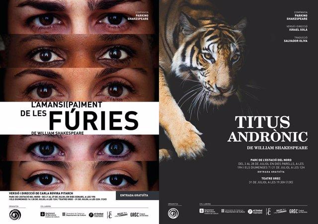 Cartell de la comèdia 'L'amansi(pa)ment de les fúries' i la tragèdia 'Titus Andrònic'